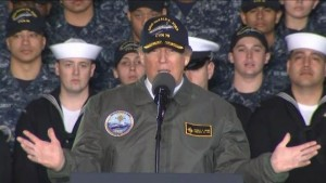 President Trump calls for the largest defense spending budget on March 2  on the deck of the USS Gerald R. Ford in Newport News, Virginia — a brand new carrier that is expected to be commissioned this summer. Associated Press Photo)