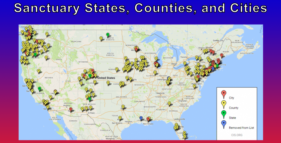 Sanctuary Cities How Many More Innocent People Need To Die - Map of sanctuary cities in us