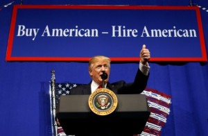 President Trump visited Wisconsin to sign the Buy American, Hire American executive order on April 18 (Kevin Lamarque/Reuters)