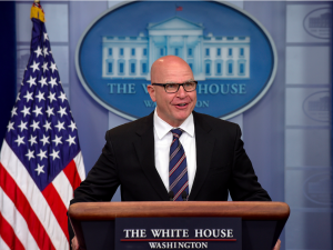 National Security Advisor H.R. McMaster defended the Trump Administration Tuesday after a Washington Post story, citing unnamed sources alleges Trump gave classified information to Russia. (Associated Press Photo)