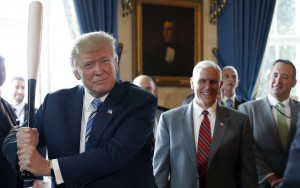 "President Trump hits a home run with blue collar jobs. Earlier this month The White House held its ""Made in America"" week showcasing U.S. goods like this Marucci bat from Baton Rouge, LA. Vice President Mike Pence laughs behind the Commander-In-Chief. (July 17, 2017, The White House, AP Photo/Alex Brandon)"